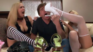 Porn Industry Stars Have Fun Footsie With A Sausage