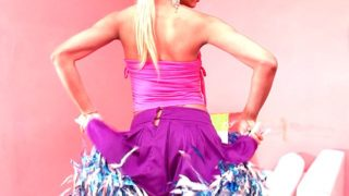 Succulent Blond Transgender Princess Cheerleader Itiel Dancing And Displaying Figure Upskirt